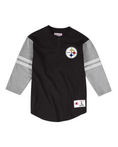 Pittsburgh Steelers Mitchell & Ness Men's Henley Raglan 3/4 Sleeve Tee - Extended Sizes