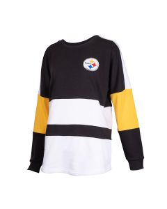 Pittsburgh Steelers Women's Blocked Campus Long Sleeve Fleece