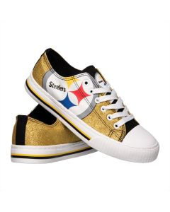 Pittsburgh Steelers Women's Gold Glitter Low Top Canvas Shoe