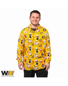 Pittsburgh Steelers Holiday Explosion Button Up Shirt