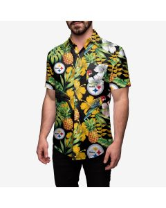 Pittsburgh Steelers Men's Floral Aloha Button Up Shirt
