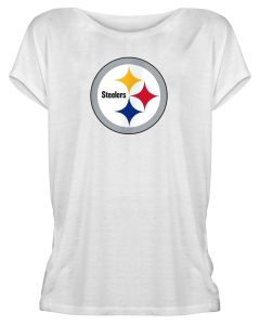 Pittsburgh Steelers Women's New Era Tie Back Dolman Short Sleeve Scoop Tee
