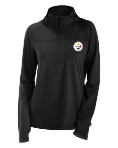 Pittsburgh Steelers Women's New Era Open Back 1/2 Zip Pullover