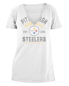 Pittsburgh Steelers Women's New Era Cut Out Neck Short Sleeve Tee