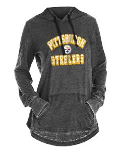 Pittsburgh Steelers Women's New Era Burnout Hoodie Long Sleeve Tee