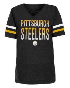 Pittsburgh Steelers Girls' Glitter Cross Neck Short Sleeve T-Shirt