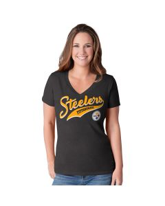 Pittsburgh Steelers Women's Play Maker V-Neck Short Sleeve T-Shirt