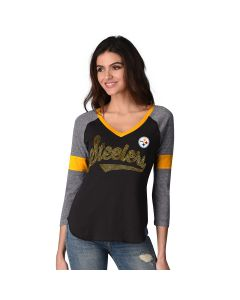 Pittsburgh Steelers Women's Touch Fan for Life Sequin V-Neck Long Sleeve Tee
