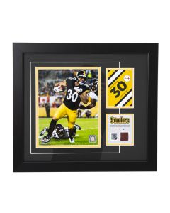 Pittsburgh Steelers #30 James Conner Framed Photo with a piece of Game-Used Football