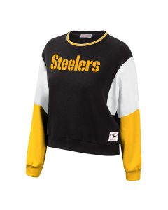 Pittsburgh Steelers Women's Mitchell & Ness Dolman Colorblock Pullover Sweatshirt
