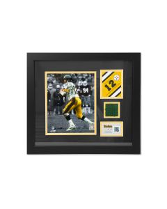 Pittsburgh Steelers #12 Terry Bradshaw Framed Photo with a piece of Three Rivers Stadium Turf