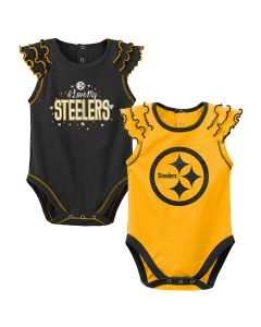 Pittsburgh Steelers Newborn Girls' Shining MVP 2 Pack Creeper Set