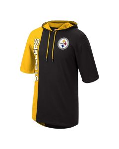 Pittsburgh Steelers Mitchell & Ness Split Hoodie Short Sleeve T-Shirt