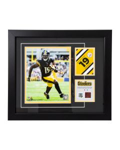 Pittsburgh Steelers #19 JuJu Smith-Schuster Framed Photo with a piece of Game-Used Football