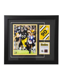 Pittsburgh Steelers #90 T.J. Watt Framed Photo with a piece of Game-Used Football