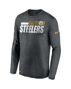 Pittsburgh Steelers Men's Nike Long Sleeve Playbook Sideline Grey T-Shirt