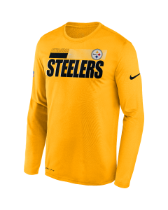 Pittsburgh Steelers Men's Nike Long Sleeve Playbook Sideline Gold T-Shirt