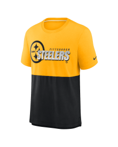 Pittsburgh Steelers Men's Nike Short Sleeve Silicone Logo Colorblock T-Shirt