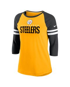 Pittsburgh Steelers Nike Women's Sleeve Stripe 3/4 Raglan T-Shirt