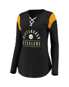Pittsburgh Steelers Women's Prolific Lace Up Long Sleeve T-Shirt