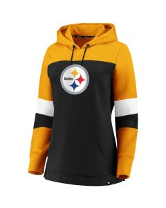 Pittsburgh Steelers Women's Iconic Colorblock Pullover Fleece Hoodie