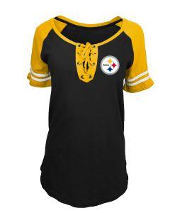 Pittsburgh Steelers Women's Plus Lace Up Raglan Short Sleeve T-Shirt