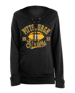 Pittsburgh Steelers Women's New Era Lace Up Hoodie Long Sleeve T-Shirt