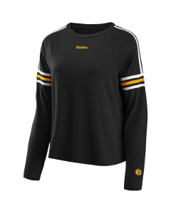 Pittsburgh Steelers Women's Striped Drop Shoulder Long Sleeve T-Shirt