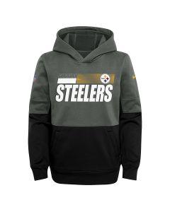 Pittsburgh Steelers Youth Nike Playbook Therma Grey Sideline Hoodie