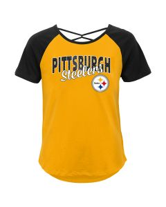 Pittsburgh Steelers Girls' Game Day Cross Back Short Sleeve T-Shirt