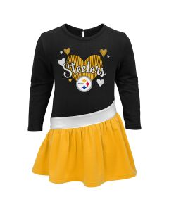 Pittsburgh Steelers Toddler Girls' All Hearts Long Sleeve Dress