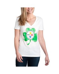 Pittsburgh Steelers Women's Shamrock Short Sleeve V-Neck T-Shirt