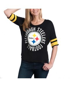 Pittsburgh Steelers Women's New Era Boxy Black T-Shirt