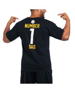 Pittsburgh Steelers #1 Dad Short Sleeve Black T-Shirt