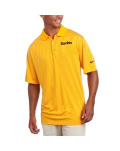 Pittsburgh Steelers Nike Short Sleeve Striped Dri-Fit Gold Polo