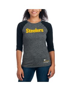 Pittsburgh Steelers Nike Women's Marled Stencil Raglan T-Shirt