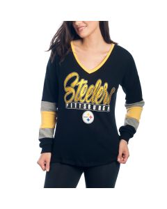 Pittsburgh Steelers Women's New Era Holiday Long Sleeve V-Neck