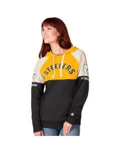 Pittsburgh Steelers Women's Shutout Colorblock Fleece Hoodie