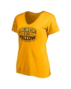 Pittsburgh Steelers Women's Black & Yellow Bars Short Sleeve T-Shirt