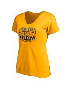 Pittsburgh Steelers Women's Black & Yellow Bars Short Sleeve T-Shirt