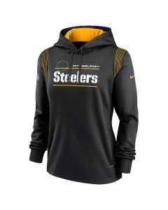 Pittsburgh Steelers Women's Nike Therma Wordmark Sideline Hoodie