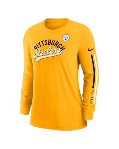 Pittsburgh Steelers Women's Nike Impact Team Name Cotton Long Sleeve Gold T-Shirt
