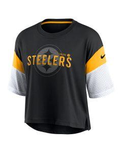 Pittsburgh Steelers Women's Nike Team Nickname Short Sleeve Crop T-Shirt
