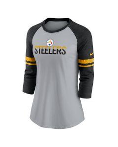 Pittsburgh Steelers Women's Nike Split Team Name Raglan Long Sleeve T-Shirt