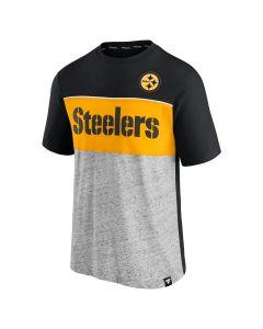 Pittsburgh Steelers Men's Perfect Kick Color Block Short Sleeve T-Shirt