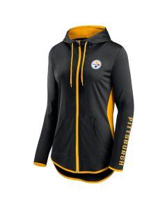 Pittsburgh Steelers Women's Lightweight Colorblock Full Zip Hoodie