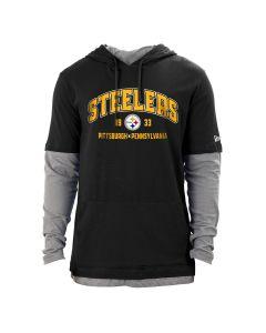 Pittsburgh Steelers Men's New Era 2fer Hoodie Long Sleeve T-Shirt