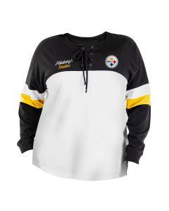 Pittsburgh Steelers Women's Plus New Era Lace Up Spirit Jersey
