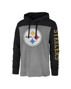 Pittsburgh Steelers Men's '47 Franklin Wooster Colorblock Hoodie Long Sleeve T-Shirt