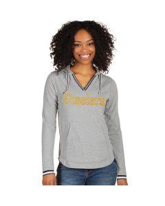 Pittsburgh Steelers Women's Warm Up V-Neck Hoodie Long Sleeve T-Shirt